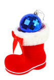 Red Christmas boot. S with a blue ball on a white background Royalty Free Stock Images