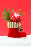 Red christmas boot Stock Photography