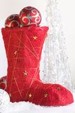 Red christmas boot Stock Images