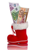 Red Christmas boot with Euro banknotes Royalty Free Stock Photos