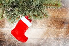 Red christmas boot with gifts Stock Image