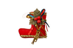 Red Christmas boot isolated. Stock Photo
