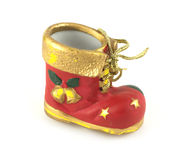 Red Christmas bootee Stock Photos