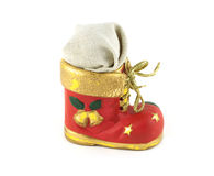 Red Christmas bootee with gift. Red Christmas toy bootee with gift  on white Royalty Free Stock Photos
