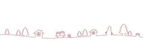 Red christmas border decoration line drawing. Vector illustration EPS10 stock illustration