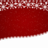 Red Christmas border with snowfall Royalty Free Stock Photos