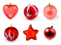 Red christmas boubles or balls isolated collection Stock Images