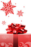 Red Christmas bow. Red Christmas gift in isolated white background royalty free stock photos
