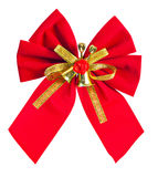 Red christmas bow with golden ribbon and bells isolated on white Stock Images