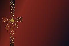 Red christmas bow with golden stars Stock Image