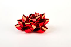 Red Christmas bow isolated. Stock Photos