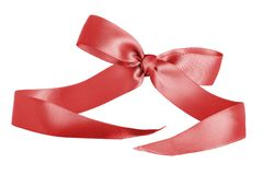 Red Christmas Bow Ribbon for Gifts or Sale stock photos