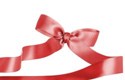 Red Christmas Bow Ribbon for Gifts or Sale stock image