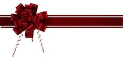 Red christmas bow and ribbon Royalty Free Stock Photo