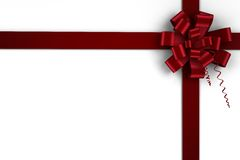 Red christmas bow and ribbon Royalty Free Stock Images