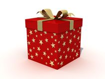 Red Christmas Box. Whit golden ribbon on white background Royalty Free Stock Photos