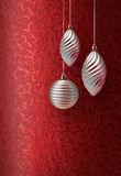 Red Christmas brocade silver decoration Stock Photos