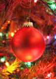Red christmas bulb hanging Stock Photo