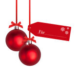 Red christmas bulb with tag Stock Photography