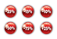 Red christmas button for your website Stock Photo
