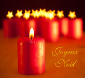 Red Christmas candle Stock Photography
