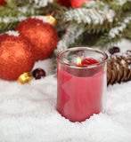 Red Christmas Candle Stock Photos