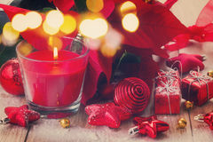 Red christmas candle with decorations Royalty Free Stock Photography