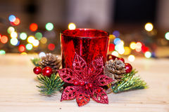 Red christmas candle for home decoration Royalty Free Stock Images