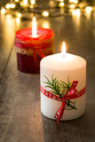 Red Christmas candle. And Christmas light Stock Images
