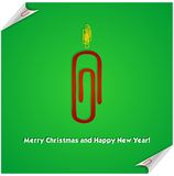 Red christmas candle paper clip Stock Image