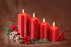 Red christmas candles royalty free stock photo