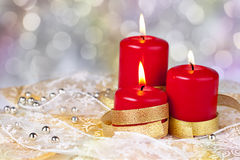 Red Christmas candles Royalty Free Stock Images