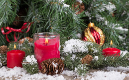 Red Christmas Candles Stock Photos