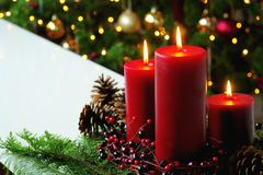 Red Christmas Candles Display Pine Cones Tree Stock Photography