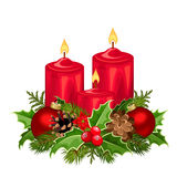 Red Christmas candles. Vector illustration. Stock Photo