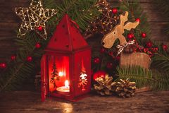 Red christmas candlestick Royalty Free Stock Image