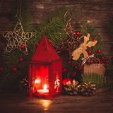 Red christmas candlestick Royalty Free Stock Photos