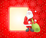 Red christmas card. With snowflake and santa claus Royalty Free Stock Photo