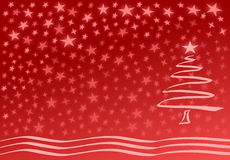 Red christmas card. With tree and stars Royalty Free Stock Photo