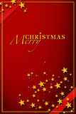 Red Christmas Card. Red Christmas greetings image with golden stars Stock Photos