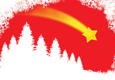 Red christmas card. Illustrated card, white christmas trees over the red snowy sky with falling star Stock Photo