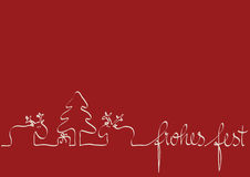 Red Christmas Card. Funny Christmas Card wishing you frohes fest Stock Photography