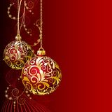 Red Christmas card. With Christmas balls and snowflakes Stock Images