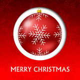 Red christmas card. With snowflakes illustration Royalty Free Stock Image