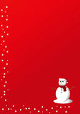 Red Christmas card. With a snowman design with some stars surrounding the borders Royalty Free Stock Photography