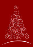 Red Christmas card. White Christmas Tree isolated on a red background Stock Photos
