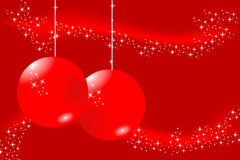 Red Christmas card. With balls and stars Royalty Free Stock Photography