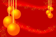 Red christmas card. With golden balls and stars Royalty Free Stock Photo
