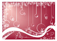 Red Christmas card. White Christmas  isolated on a red background Royalty Free Stock Photos