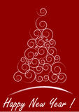Red Christmas card. White Christmas Tree isolated on a red background Royalty Free Stock Images